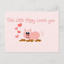 Cute Pig Valentine's Day Postcard