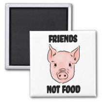 Cute Pig Vegan Friends Not Food Illustration Magnet