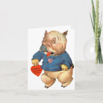 Cute Pig Will Squeal Valentine's Day Card Cards