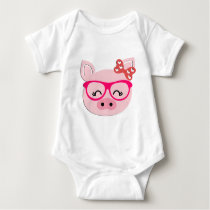 Cute Pig With Bow and Glasses Baby Bodysuit