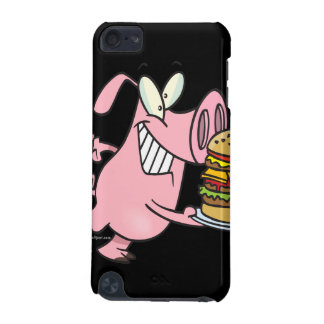 cute pig with triple cheeseburger iPod touch (5th generation) cases