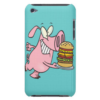 cute pig with triple cheeseburger iPod touch Case-Mate case