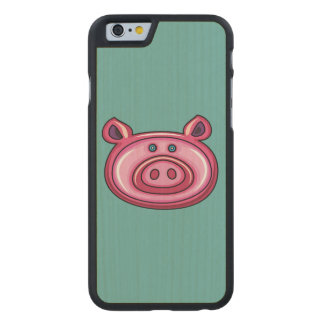 Cute Pig Carved® Maple iPhone 6 Case
