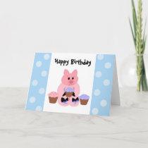 Cute Piggy Birthday Card