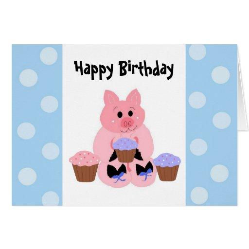 Cute Piggy Birthday Greeting Card