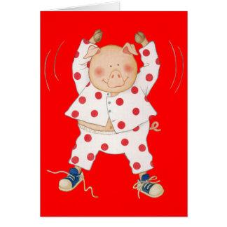 Cute Piggy Exercising Card