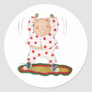 Cute Piggy Exercising Classic Round Sticker