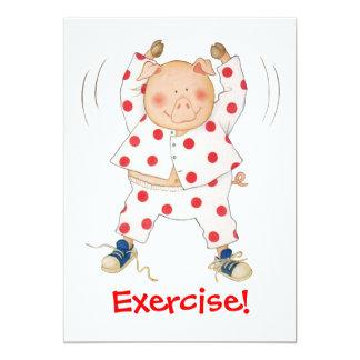 Cute Piggy Exercising 5x7 Paper Invitation Card