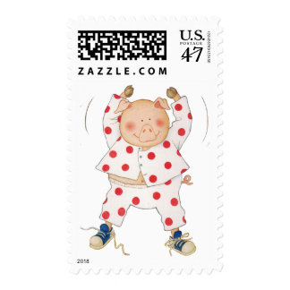 Cute Piggy Exercising Stamp