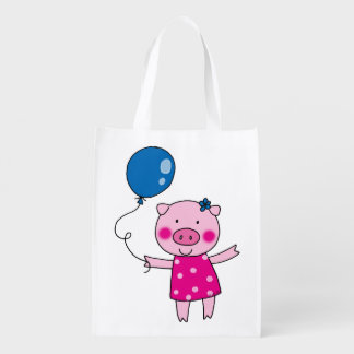 cute piggy girl with a blue balloon reusable grocery bag