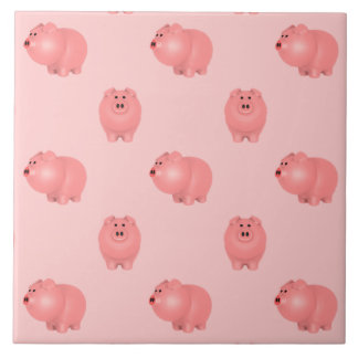 Cute Piggy Pattern: Choose Your Own Background Ceramic Tile
