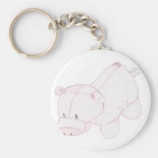Cute Piggy Plush Basic Round Button Keychain