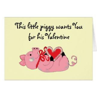 Cute Piggy Valentine Greeting Card
