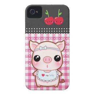 Cute piggy with kawaii cherries Case-Mate iPhone 4 case