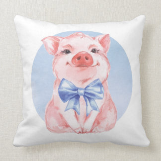 Cute piglet and bow throw pillow