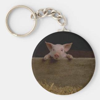 Cute Piglet Basic Round Button Keychain