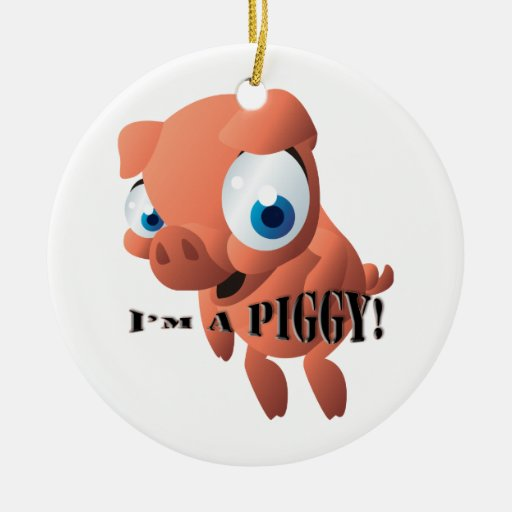 Cute Piglet Double-Sided Ceramic Round Christmas Ornament