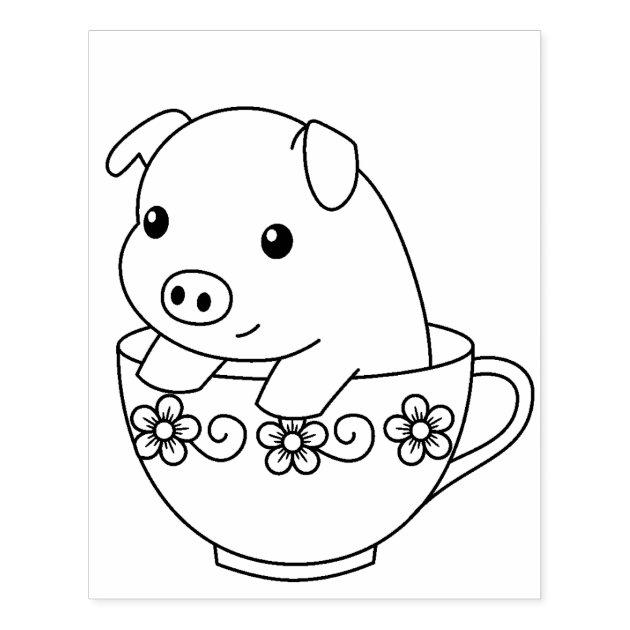cute piglet pig in a teacup coloring page rubber stamp