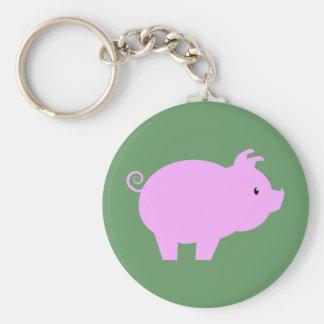Cute Piglet Silhouette Basic Round Button Keychain