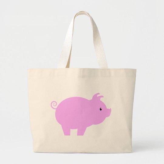 Cute Piglet Silhouette Large Tote Bag