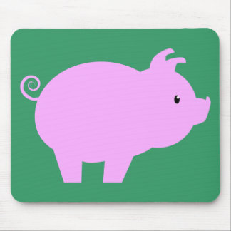 Cute Piglet Silhouette Mouse Pad