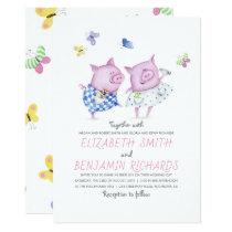 Cute Pigs Couple Elegant and Romantic Wedding Invitation