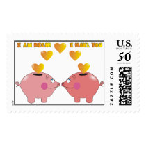 Cute Pigs in Love Postage Stamps
