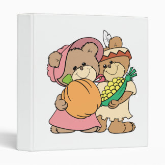 cute pilgrim and indian thanksgiving teddy bears binder