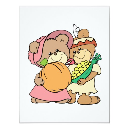 cute pilgrim and indian thanksgiving teddy bears 4.25x5.5 paper invitation card