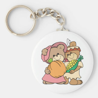 cute pilgrim and indian thanksgiving teddy bears keychain