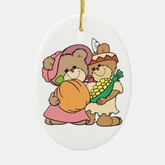 cute pilgrim and indian thanksgiving teddy bears Double-Sided oval ceramic christmas ornament