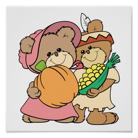 cute pilgrim and indian thanksgiving teddy bears poster