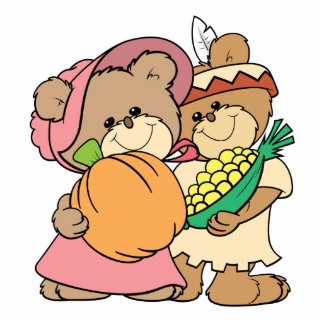 cute pilgrim and indian thanksgiving teddy bears statuette
