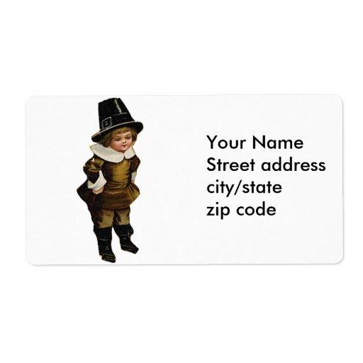 Cute Pilgrim Boy Shipping Labels