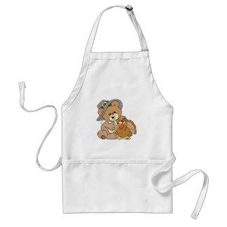 cute pilgrim teddy bear with turkey apron