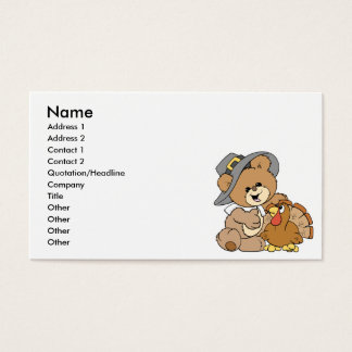 cute pilgrim teddy bear with turkey business card