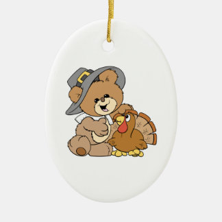 cute pilgrim teddy bear with turkey ceramic ornament
