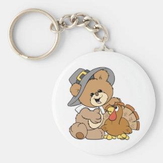 cute pilgrim teddy bear with turkey keychain