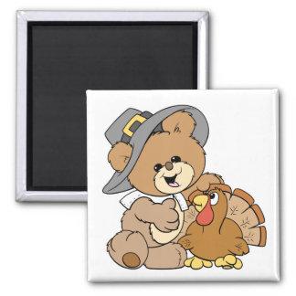 cute pilgrim teddy bear with turkey refrigerator magnet
