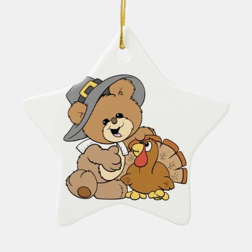 cute pilgrim teddy bear with turkey Double-Sided star ceramic christmas ornament