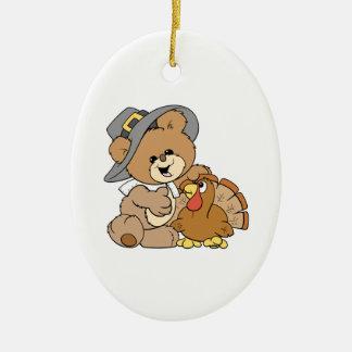 cute pilgrim teddy bear with turkey Double-Sided oval ceramic christmas ornament