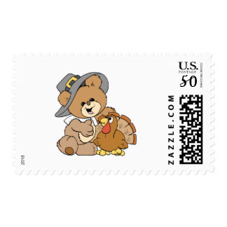 cute pilgrim teddy bear with turkey postage
