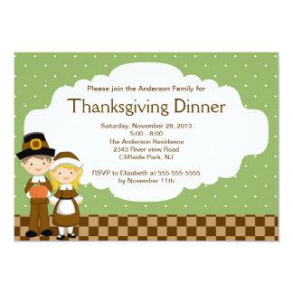 Cute Pilgrim Thanksgiving  Dinner Party Invitation