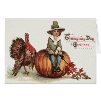 Cute Pilgrim Turkey Pumpkin Fall Leaves Card