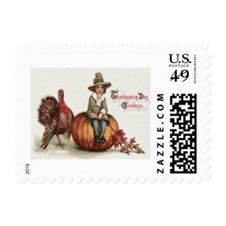 Cute Pilgrim Turkey Pumpkin Fall Leaves Postage Stamp