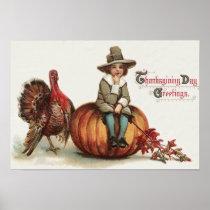 Cute Pilgrim Turkey Pumpkin Fall Leaves Poster