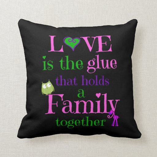 Love Pillow Case From Modern Family : Cute Pillow, LOVE FAMILY pink lime purple on black Pillow Zazzle