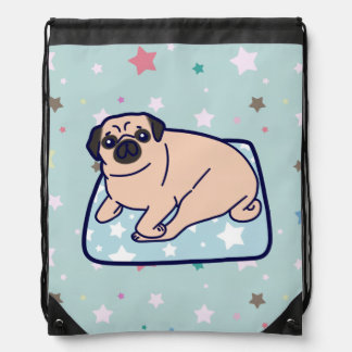 Cute Pillow Pug Drawstring Backpack