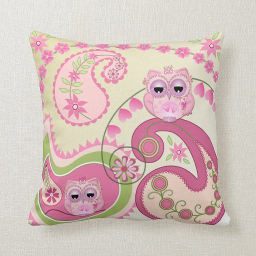 Cute Pillow With Baby Owls And Paisley Designs Zazzle