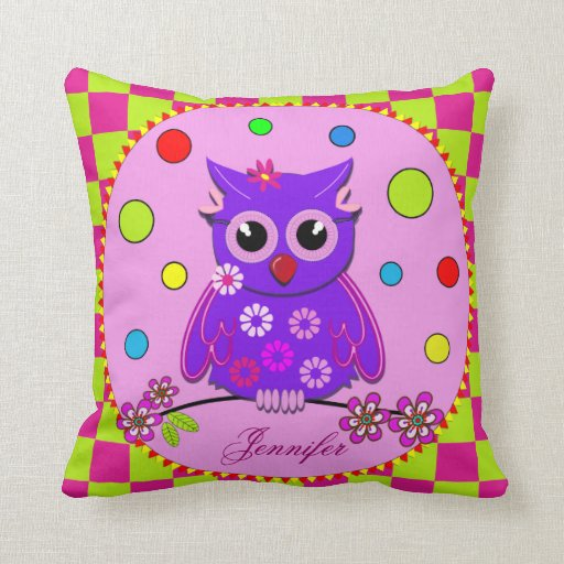 Cute Owl Pillow Pattern : Cute pillow with cartoon Owl, Patterns and Name Zazzle